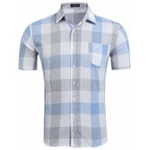 -Men Short Sleeve Plaid Casual Shirts on JD