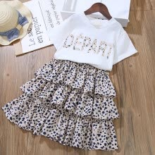 -Girls Summer Suit Korean Children Short Sleeved Fashion Cake Skirt Two Piece on JD