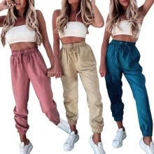 -Women Loose Trousers Fashion Solid Color High Waist Drawstring Girl Casual Pants on JD