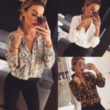 -Women V Neck Ladies Leopard Print Long Sleeve Loose TShirt Tops Blouse Casual on JD