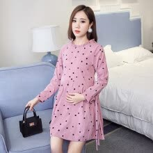 -Spring Autumn Maternity Mini Dress Woman Cute Pokla Dot Long Sleeve Autumn Pregnant Woman Casual Vestidos on JD