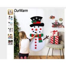 -Christmas DIY Felt Snowman Set with 29pcs Detachable Ornaments Christmas Decorations Wall Hanging kit Xmas Gifts for Kids(19.7 on JD