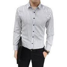 -Fashion Men Tops Casual Shirts Slim Stripe Shirts Work Blouse (White)(XL) on JD