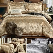 -HOTBEST Home Bedding Set Jacquard Duvet Cover Set 2/3pcs Bed Linens Luxurious Bedclothes Single Queen King Size Bed Sets on JD