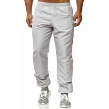 -Men Solid Color Trousers, Casual Style Side Pockets Mid-rise Ankle Banded Pants (White, Black, Navy Blue) on JD