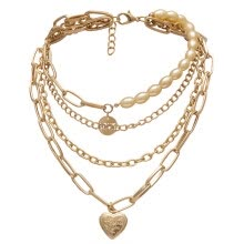-Vintage Metal Gold Multi-layer Lock Love Necklace Ladies Jewelry Gift on JD