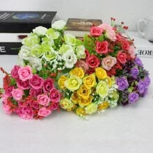 flowers-and-planter-21 Heads Fake Silk Rose Flowers Bouquet Artificial Wedding Home Floral Decor on JD