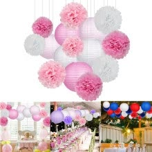 -Mnycxen Paper Flower Ball Paper Lantern Set Birthday Party Wedding Decoration 15pcs/set on JD