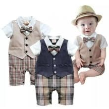 monetary-banking-2020 New Spring Romper Autumn boys Short-sleeved vest style gentleman Romper baby climbing on JD