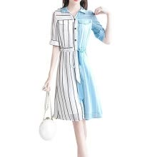 -Sexy Ladies' Turn-down Collar Summer Dress Striped Short Sleeves Buttons Midi Dresses Female Casual Short Shirt Vestidos on JD