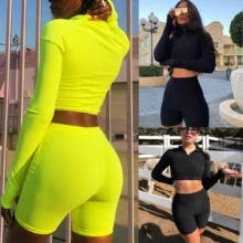 -2PCS Women's Crop Tops + Shorts Pants Bodycon Casual Outfit Sportswear Tracksuit on JD