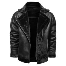 -Men's Fashion Jacket Vintage Turn-down Collar Solid Imitation Leather Coat Tops on JD