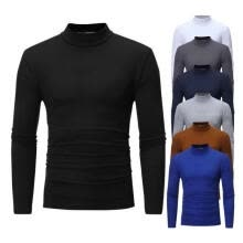 -MENS ROLL NECK LONG SLEEVE COTTON TOP POLO NECK TURTLE NECK BASIC T SHIRTS on JD