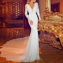 -2020 New Women Wedding Dress Sexy Deep V Party White Dress Backless Lace Long sleeve Dresses Vacation Wear vestidos on JD