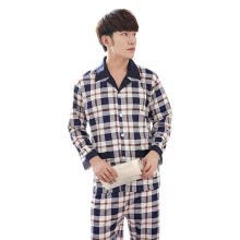 -Autumn Winter Men Cardigan Long Sleeve Cotton Casual Pajama Set (Blue)(L) on JD
