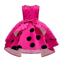 -Kids Child Girls Sleeveless Dot Print Princess Pageant Gown Party Wedding Dress on JD