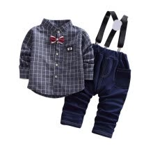 -Children Boys Clothing Baby Boy Plaid Shirt + Strap Trousers Two-Piece Suit Cotton and Spandex on JD