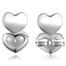 -Love-shape Auxiliary Earrings Ear Stud Lifter Anti-off Kit for Ear Stud Color:Silver on JD