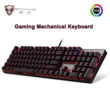 -Genuine Motospeed CK104 Mechanical Gaming Keyboard 104 key LED RGB Backlit USB wired Keyboard Russian/English for computer gamer on JD