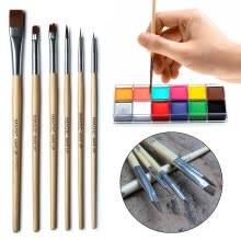-Tuscom IMAGIC 6Pcs Pro Makeup Brushes Tattoo Oil Paint Makeup Brushes Wood Handle on JD