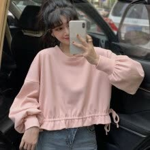 -Autumn Korean Style Tshirt Drawstring Design Short Style Loose Round Neck Top Tee Shirt on JD