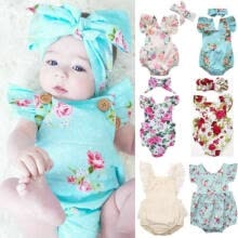 -US Newborn Baby Girl Romper Floral Bodysuit Jumpsuit Summer Clothes Outfits on JD
