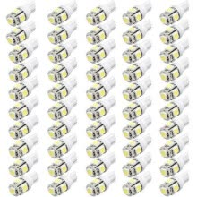 -50 Pcs Super White T10 Wedge 5-SMD 5050 LED Lights Bulb W5W 2825 158 192 168 194 on JD