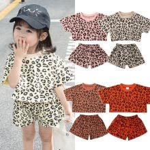 -Summer Toddler Kids Baby Girls Leopard Tops T-shirt & Short Pants 2PCS Outfits Set Clothes 0-5Yrs on JD