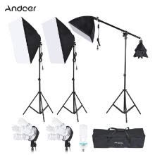 -Andoer Photography Studio Portrait Product Light Lighting Tent Kit Photo Video Equipment(3 * Softbox+2 * 4in1 Light Socket+Cantile on JD