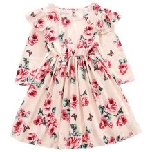 -Autumn Casual Baby Girls Long Sleeve Floral Print Dress Kids Princess Pageant Dresses on JD