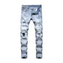 -Men's Korean Tight-fitting Jeans Personality Knee Ripped Mid-waist Zipper Long Pants on JD