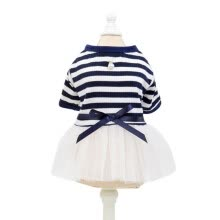 -Fashion Stripe Gauzy Skirt Cotton Pet Clothes Princess Dress Pet Supplies Navy Blue Size XL on JD
