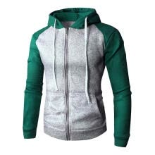 -Men Long-Sleeves Coat Stitching Hooded Sweatershirt Cardigan (Green 2XL) on JD