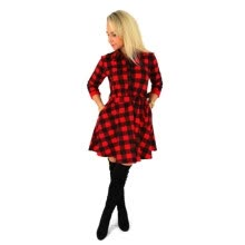 -Women Check Tartan Plaid Mini Bandage Dress 3/4 Sleeve Jumper Shirt Dresses Tops 2017 on JD