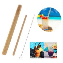 -Natural bamboo drinking straws with cleaning brush bamboo tube carrying case on JD