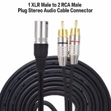 -1 XLR Male to 2 RCA Male Plug Stereo Audio Cable Connector Y Splitter Wire Cord (1.5m / 4.9ft) for Microphone Mixing Console Ampli on JD