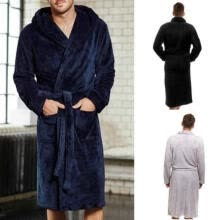 -Men´s Fall Long Sleepwear Flannel Robes Shawl Collar Fleece Bathrobe Spa Pajamas Plus Sizes M-XXL on JD