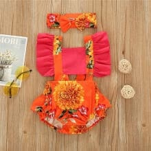 hair-bundles-Baby Girls Summer Sunflower Pattern Sling Ruffle Suspender Button Closure Jumpsuit Romper + HairBand on JD
