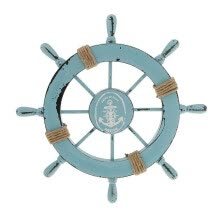 -Mediterranean Nautical Wooden Boat Ship Wheel Helm Home Wall Party Decoration (Light Blue) on JD