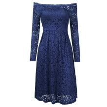 -Women's Vintage Off Shoulder Long Sleeve Lace Flaral Swing Dress Color:Navy Blue Size:XL on JD