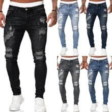-Men's Casual Ripped Hole Jeans Fashion Comfortable Pants Pencil Denim Trousers Hip Hop Jogging Fitness Pant on JD