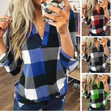 -Women Casual Loose Flannel Plaid Shirt Button Stand Collar Tops Blouse T-shirts on JD