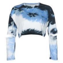 -Tie Dye Print Ladies Trendy Harajuku T shirts Hollow Out Long Sleeve Aesthetic Crop Party Tops Casual Oversized Tee Shirt on JD