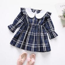 -Little Girl's Fashion Long-sleeved Dress Fresh Plaid Doll Collar Children Princess Dress Navy Blue on JD