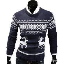 -Mens Causal O Neck Sweater Deer Printed Autumn Winter Christmas Pullover Knitted Jumper Sweaters Slim Fit Male Clothes on JD