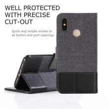 -Goowiiz Phone Case For Xiaomi Mi 8/8 Se/PocoPhone F1/Poco F1 Fashion Canvas Leather Wallet Full package flip Holder Stand on JD