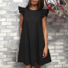 -Female Summer Dresses Women Sleeveless O-neck Mini Dress  Fashion Solid Loose Female Dress Vestidos on JD