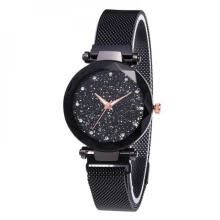 -Fashion Women Watches Mesh Ladies Clock Magnet Buckle Starry Diamond Geometric Surface Casual Women Quartz Wristwatch on JD