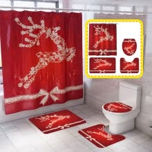 -71'x71' Christmas Reindeer Shower Curtain Waterproof Polyester Fabric Bathroom Set Size:Shower Curtain + Bathroom Rugs on JD