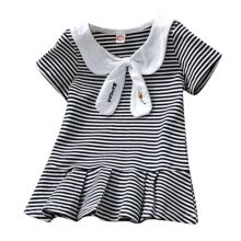 -Summer Casual Baby Girls Stripe Print Short Sleeve Dress Kids Toddler Pageant Dresses Clothes on JD